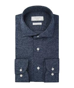 Profuomo Blauw Knitted Print Overhemd