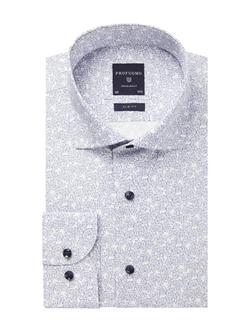 Profuomo Blue Poplin Print Shirt